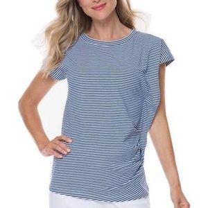 Joan Vass Navy Stripe Rouched Tee Size Large